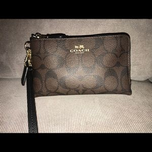 Coach wristlet, two toned brown